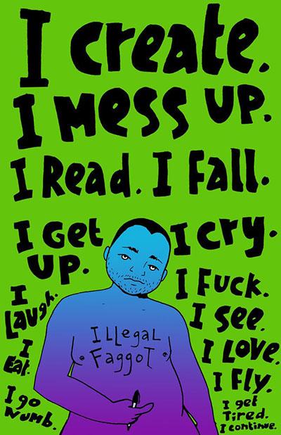I Read, I Create, I Mess Up, I Fall, illustration by Julio Salgado