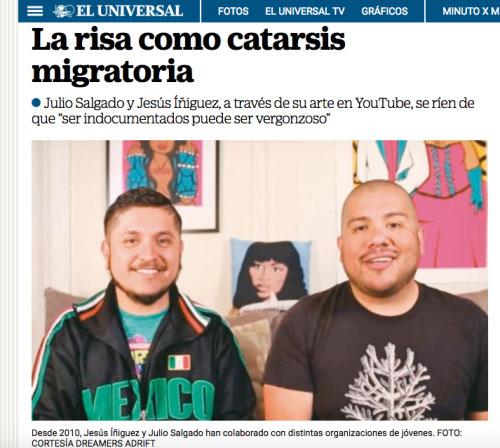 El Universal: La risa como catarsis migratoria