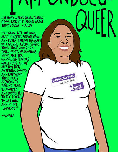 I Am Undocuqueer: Yahaira, illustration by Julio Salgado